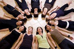 Yoga class relaxing
